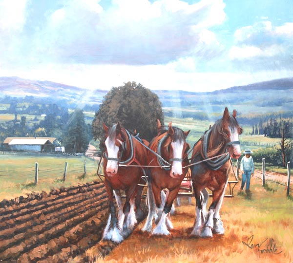 Working Horses Oil Painting